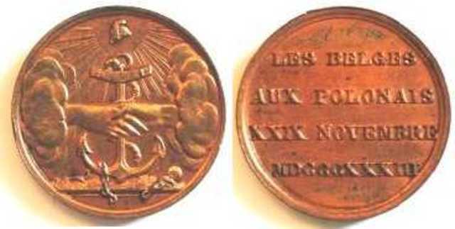 Gedenkpenning herdenking te Brussel van de Poolse Revolutie van 1830, 1833