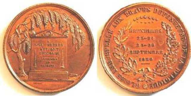 Gedenkpenning voor de gesneuvelden tijdens de Belgische revolutie, 1830