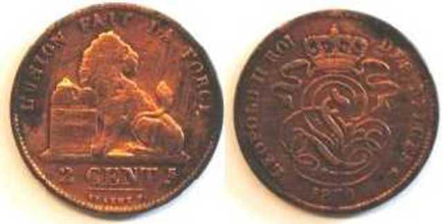 Belgische munt van 2 centimes, 1870