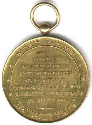 Gedenkpenning voor de onthulling van het gedenkteken van de Heer Graaf Karel de Kerckhove de Denterghem, 1898