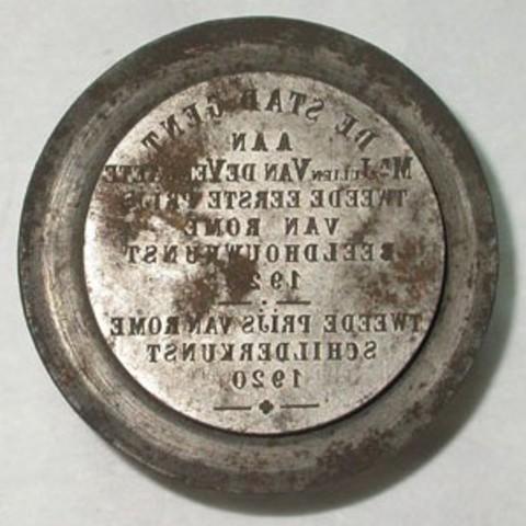 Keerzijdematrijs erepenning aan Julien Van De Veegaete, prijs van Rome, 1921