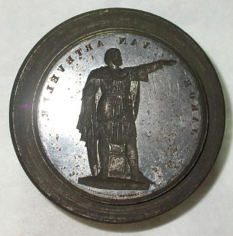 Voorzijdematrijs voor de penning van de Inhuldiging van het Standbeeld van Artevelde, 1863