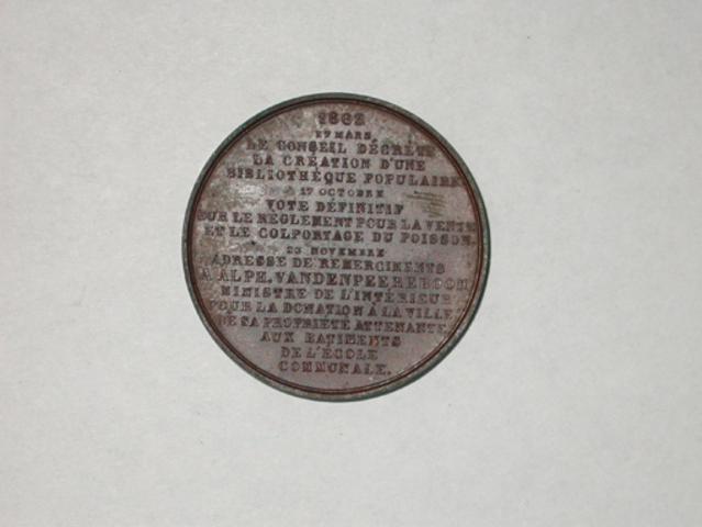 Aanwezigjheidspenning van het stadsbestuur van Ieper, 1863