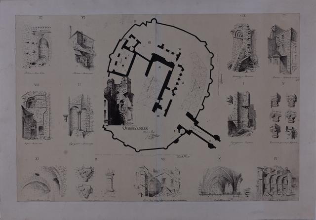 tekening van de overblijfselen van het Gravensteen
