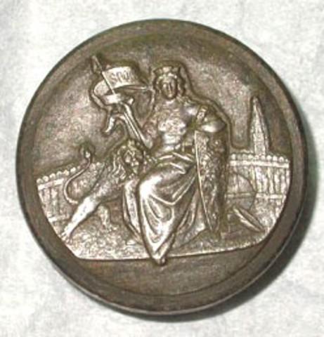 Deelpatrijs met de Gentse Maagd, 1881