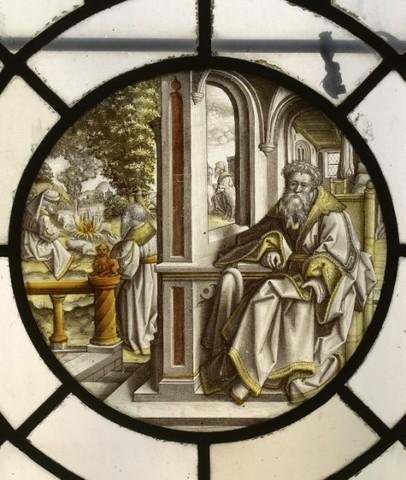 De geschiedenis van Abraham: Abraham zittend in een kamer