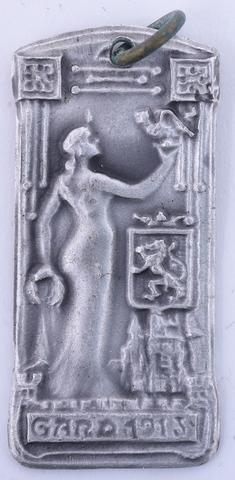 Penning met vrouw en draak van Gentse Belfort, souvenir van de  Wereldtentoonstelling te Gent, 1913