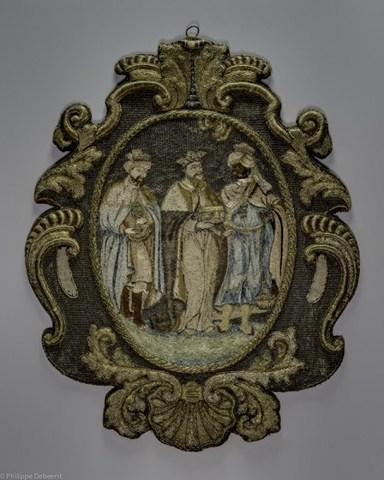 Wapenschild van het ambacht van de Gentse kruideniers, kaaskopers en kaarsgieters met voorstelling van de 3 koningen