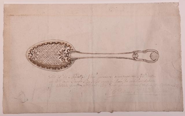Ontwerptekening voor een lepel, meesterproef van Jacobus  Franciscus Smidts