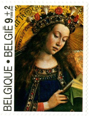 Postzegel met Onze-Lieve-Vrouw uit het Lam Gods