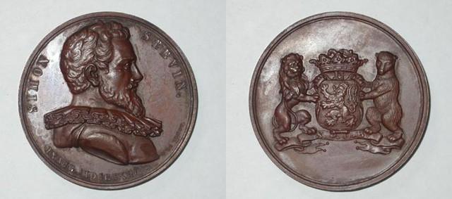 Gedenkpenning van de inhuldiging van het standbeeld van Simon Stevin te Brugge, 1846