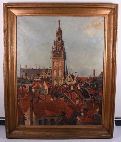 Gezicht op de toren van het belfort te Gent