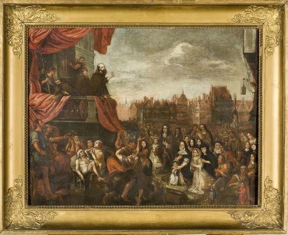 Marco d' Aviano zegent de menigte op de Vrijdagmarkt te Gent