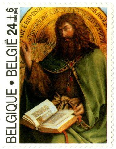 Postzegel met Johannes de Doper uit het Lam Gods