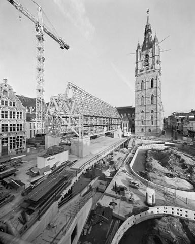 Gent, Belfort en Stadshal in opbouw