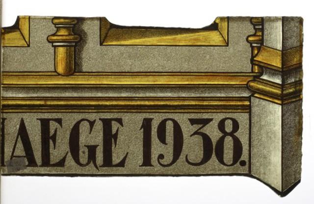 """glasraamfragment, architectuurfragment met opschrift en datum """" AEGHE 1938 """""""
