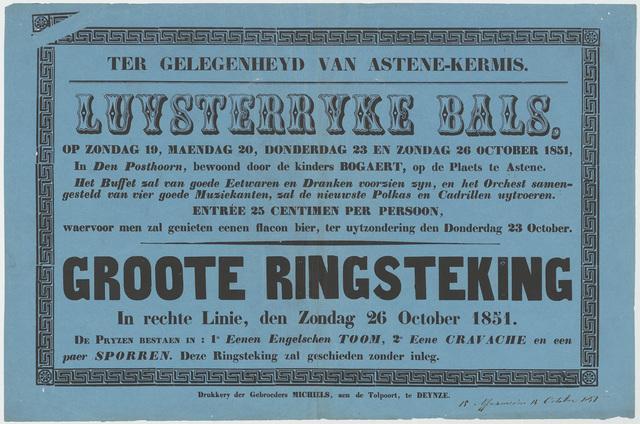 Affiche ter gelegenheid van Astene-kermis 1851