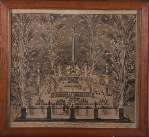 Vuurwerk op de Vrijdagmarkt t.g.v. Blijde Intrede  van Karel VI op 18 oktober 1717