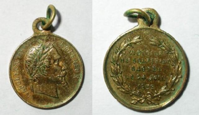 Miniatuurpenning van Napoleon III over de overwinning bij Solferino in 1859