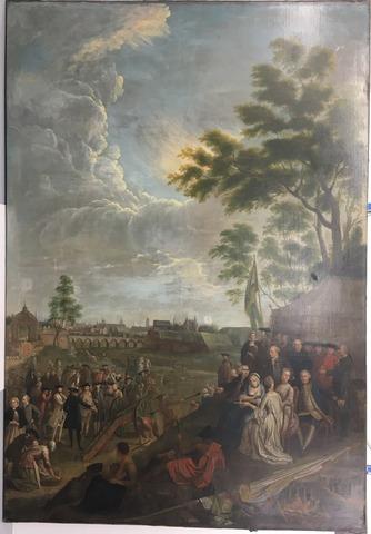 Schieting met het kanon van het Sint-Antoniusgilde te Gent
