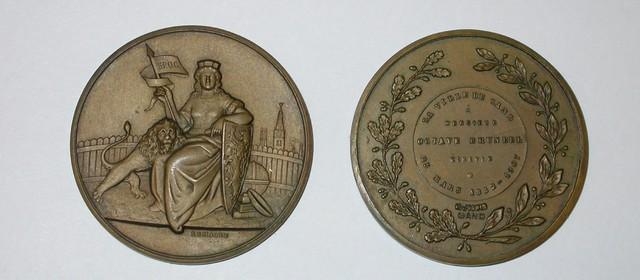 Gedenkpenning Octaaf Bruneel 25 jaar schepen van de Stad Gent, 1907