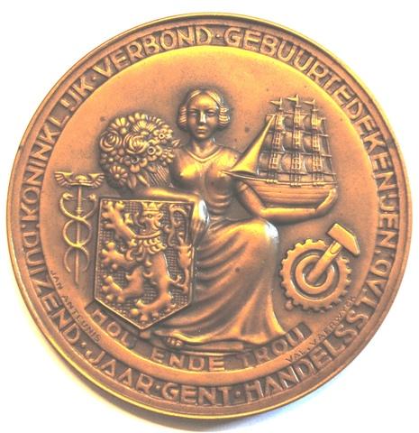 Gedenkpenning Gent 1000 jaar handelsstad en terugkeer klokke Roeland, 1949