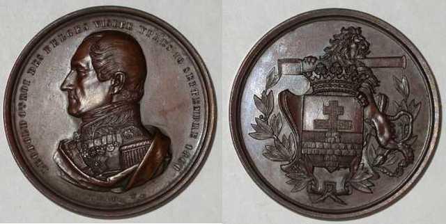 Gedenkpenning bezoek Leopold I aan Ieper, 1860