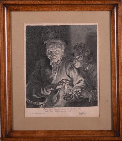 Boerin en jongen met brandende kaars