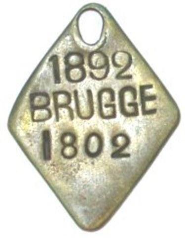Hondenpenning  Brugge, 1892