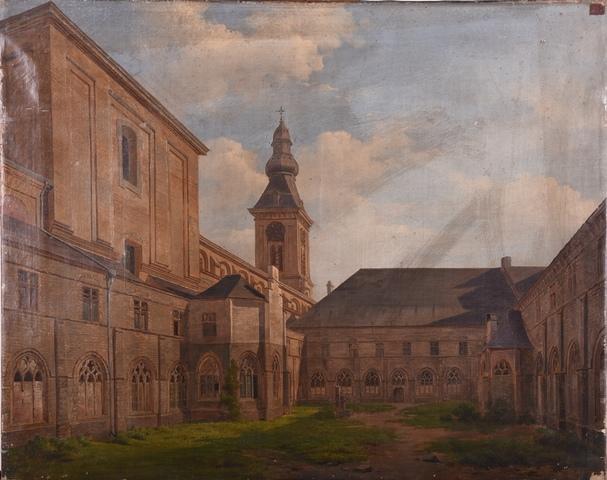 Gezicht op de binnenplaats met de pandgangen en de kerk van de Sint-Pietersabdij te Gent