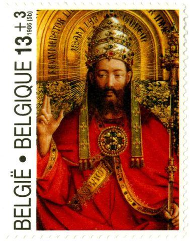 Postzegel met de verheerlijkte Christus uit het Lam Gods
