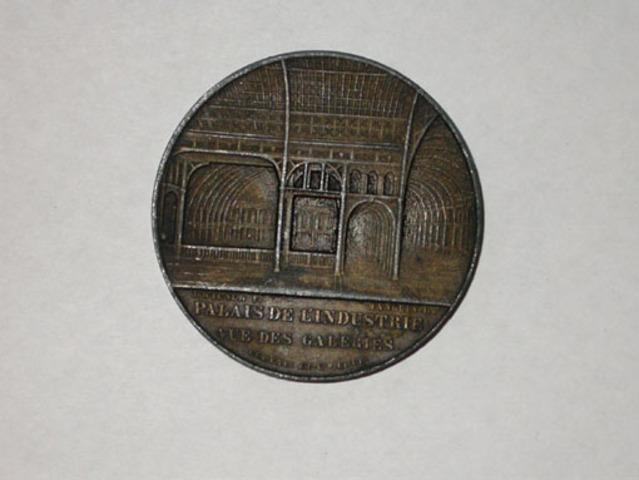 Penning voor het Paleis der industrie op de Wereldstentoonstelling te Parijs, (1855)