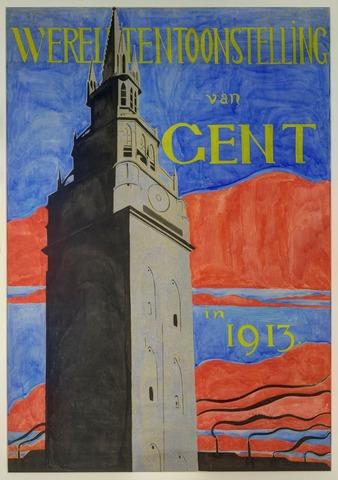 Ontwerp voor een affiche voor de wereldtentoonstelling Gent 1913