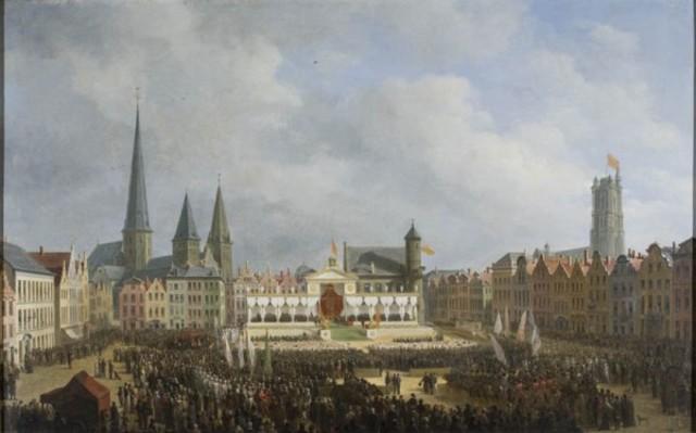 De Prijsuitreiking aan de laureaten van de tentoonstelling der Nationale Industrie te Gent in 1820