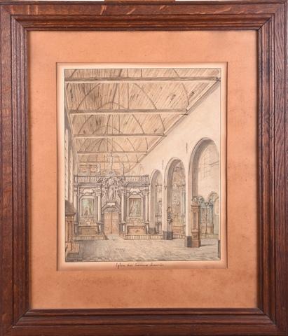 Interieurzicht van de kerk van de geschoeide Karmelieten, Lange Steenstraat Gent