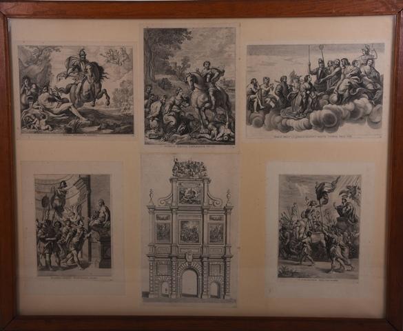 Zes gravures met voorstelling van de Arcus Caroli 1635
