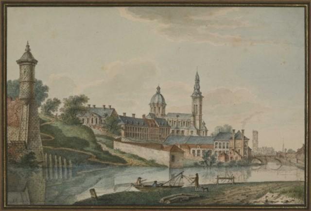 Gezicht op de Sint-Pietersabdijkerk aan de Schelde en Terplaten te Gent, 1820