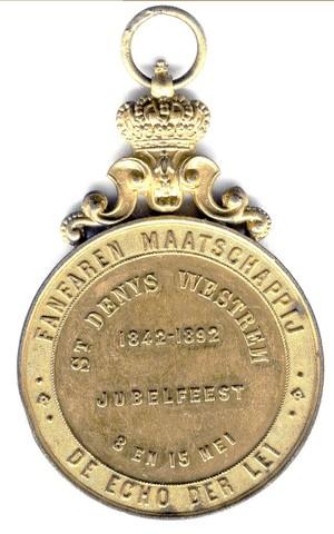 Gedenkpenning van de Fanfare Maatschappij De Echo der Lei uit St.-Denijs-Westrem, 1892