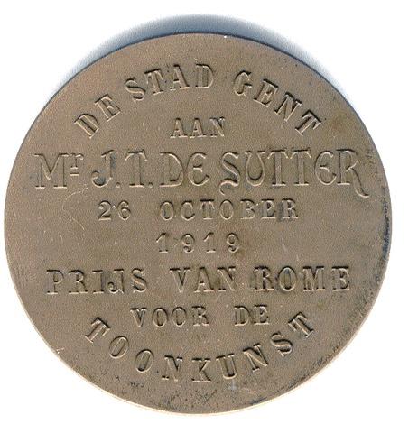 Eerbetoon aan J.T. De Sutter voor het behalen van de Prijs van Rome, 1919