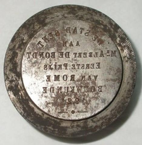Keerzijdematrijs erepenning aan Albert De Bondt, prijs van Rome, 1921