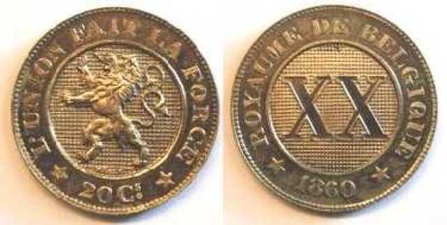 Belgische Munt van 20 centiemen, 1860