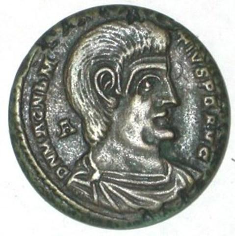 Eenzijdige naslag van een Antieke munt met Magnentius