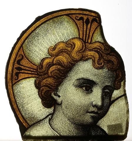 glasraamfragment, Kind Jezus met kruis rimbus