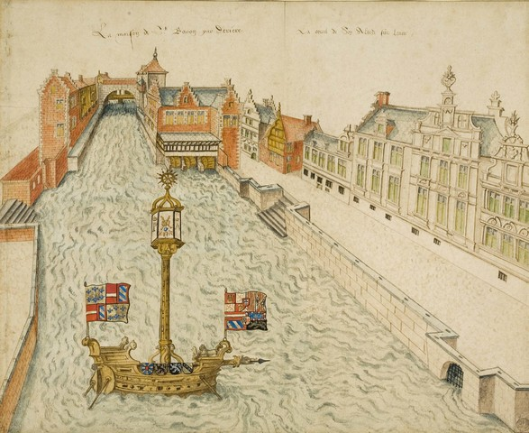 Zicht op de Braamgatensluis en de proosdij van Sint-Baafs te Gent