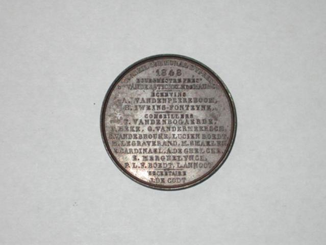 Aanwezigheidspenning van het stadsbestuur van Ieper, 1848