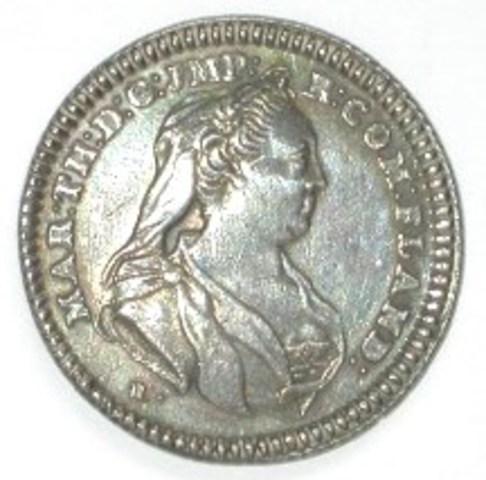 Zitpenning van de kanselarij van Ieper onder Maria-Theresia,(1768)