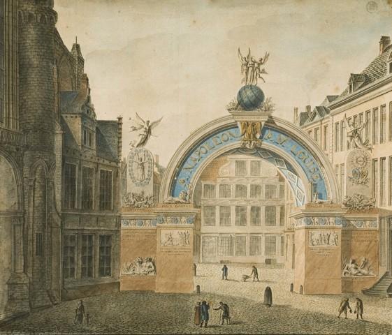 Triomfboog opgericht op de Korenmarkt, voor de Blijde Intrede te Gent van Napoleon en Marie-Louise in 1810