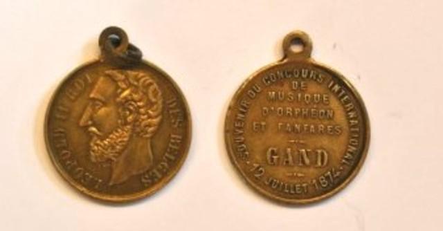 Gedenkpenning internationale wedstrijd muziek, zang en fanfare te Gent, 1874