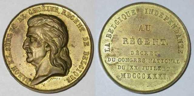 Erepenning aan Surlet de Chokier, regent van België, 1831
