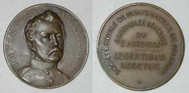 Gedenkpenning ter ere van Prosper Mailliet ter gelegenheid van de algemene vergadering van het Koninklijk Belgisch Genootschap voor Numismatiek, 1930